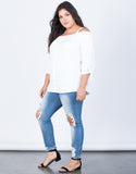 White Plus Size Amanda Buttoned Blouse - Side View