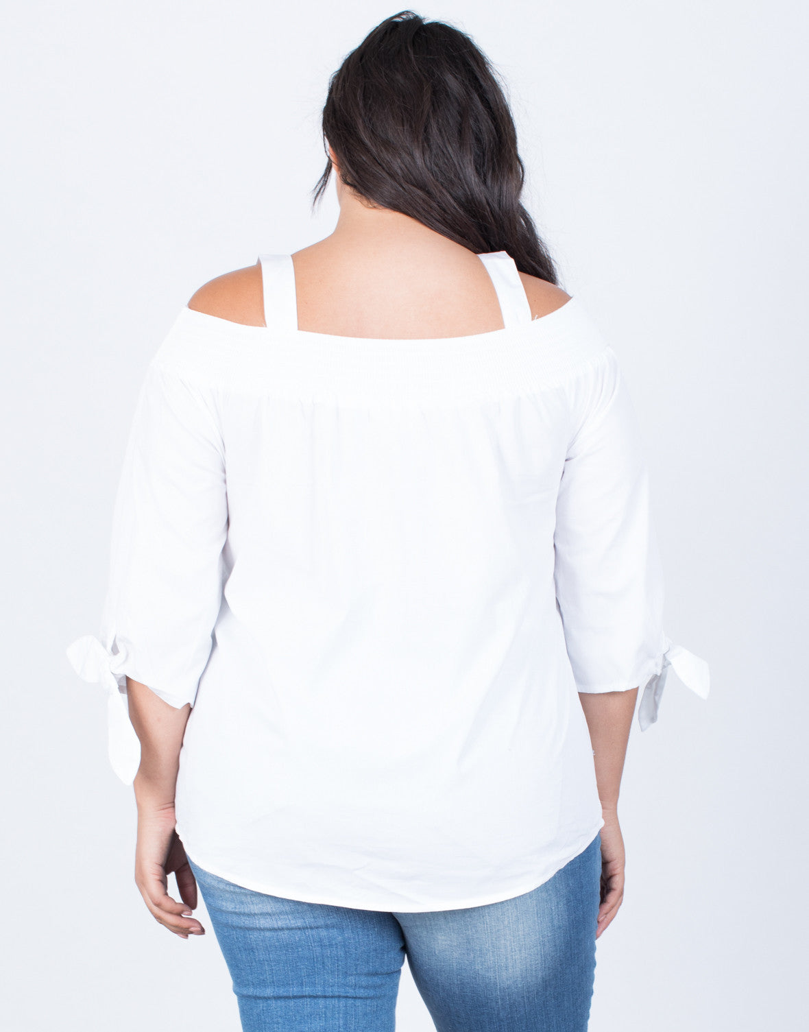 White Plus Size Amanda Buttoned Blouse - Back View