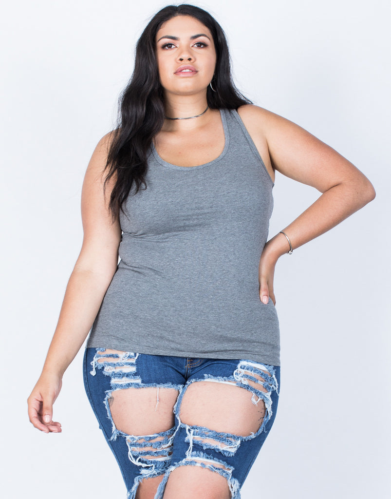 Front View of Plus Size Any Day Basic Tank