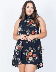 Plus Size Artistic Floral Dress