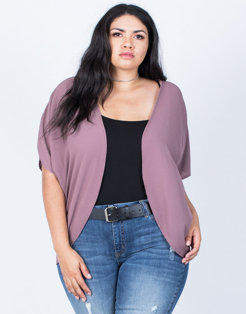 Front View of Plus Size Ava Flowy Cardigan