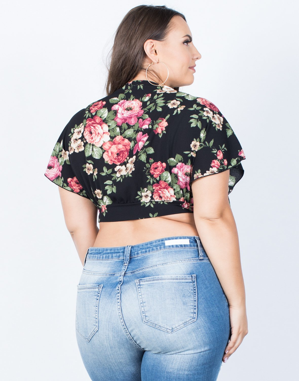 Plus Size Blooming Roses Crop Top - 2020AVE