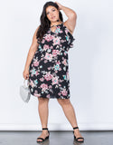 Black Plus Size Blossoming Floral Dress - Front View
