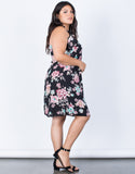 Black Plus Size Blossoming Floral Dress - Side View