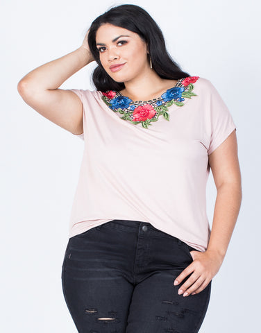 Front View of Plus Size Branch Out Floral Tee