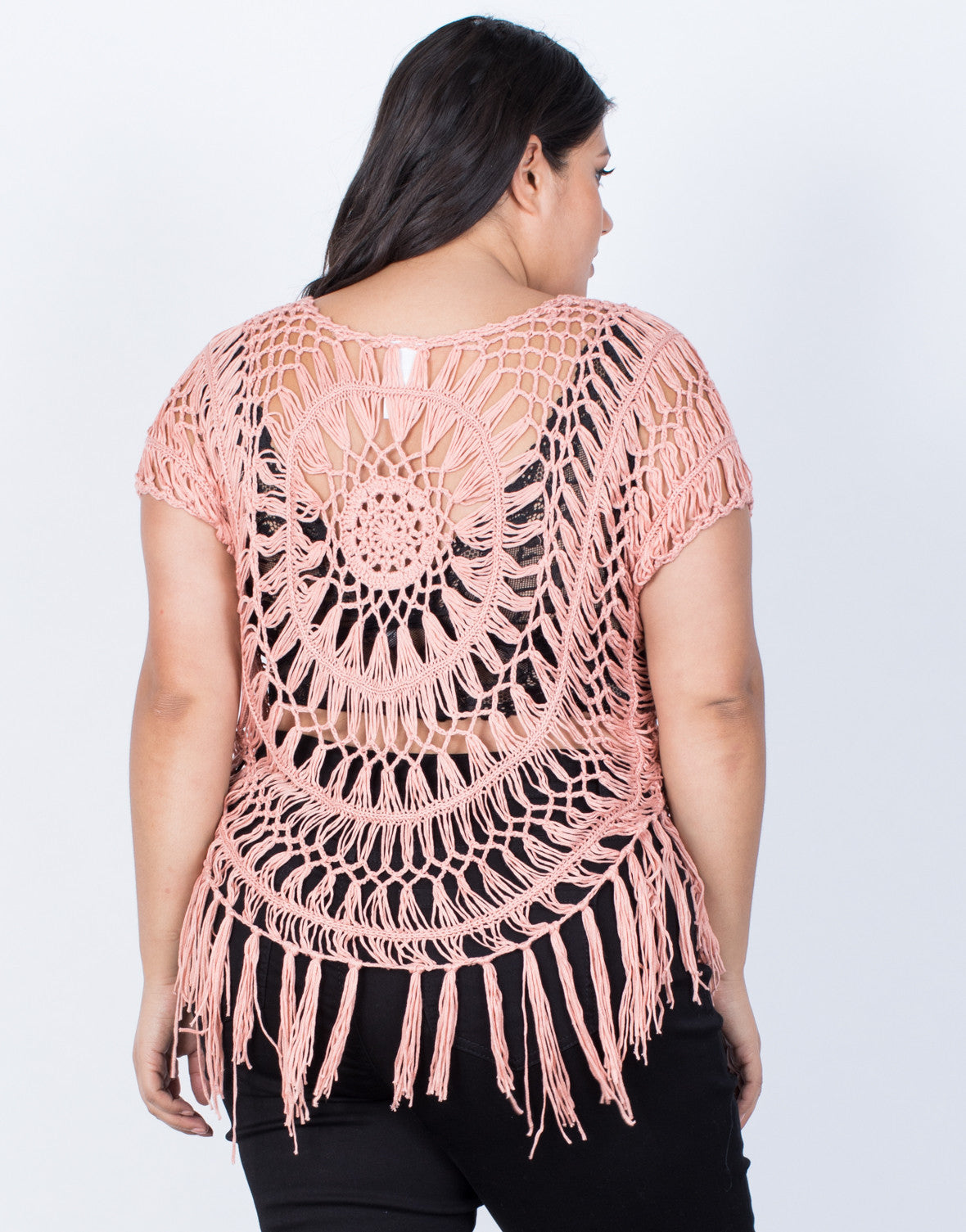 Rose PInk Plus Size Breezy Crochet Top - Back View