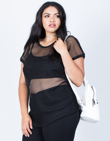 Front View of Plus Size Breezy Fishnet Tee