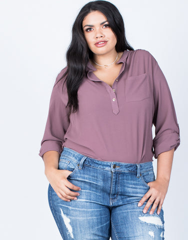 Front View of Plus Size Busy Days Woven Blouse
