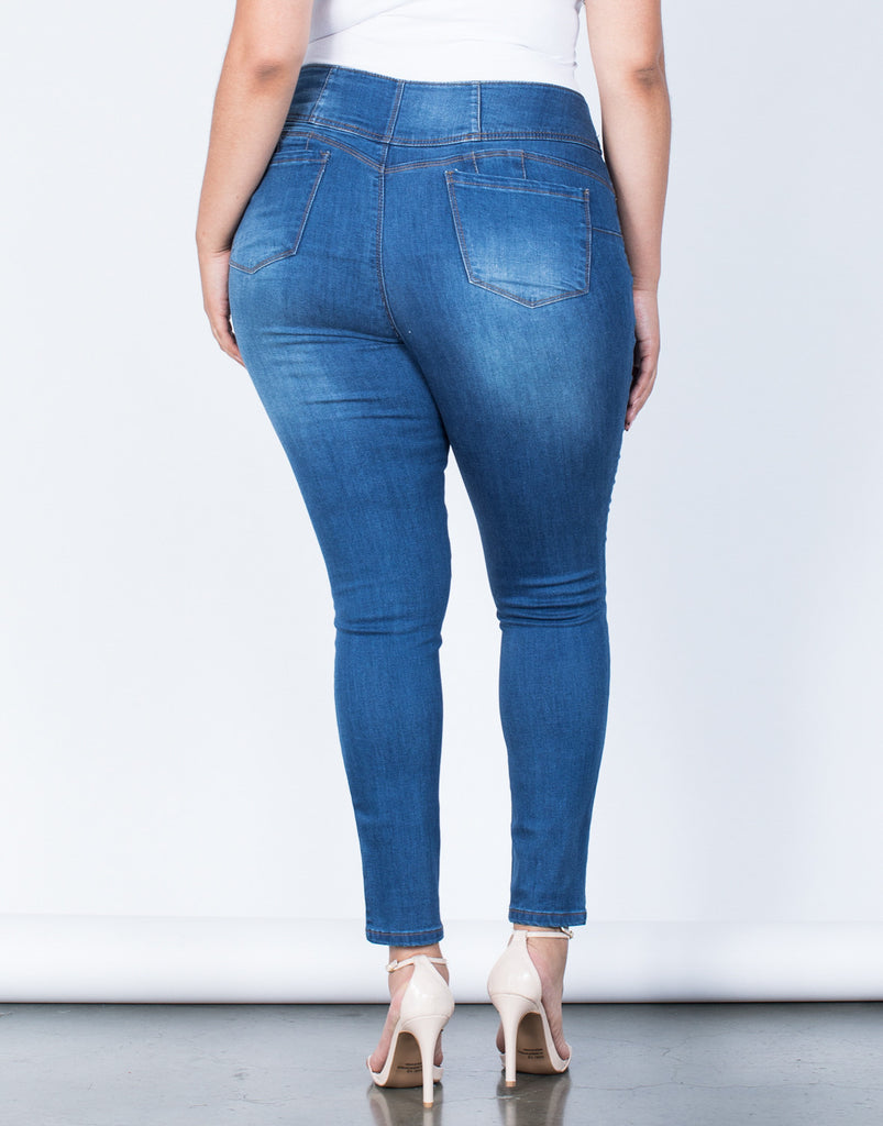 Back View of Plus Size Buttoned High Up Jeans