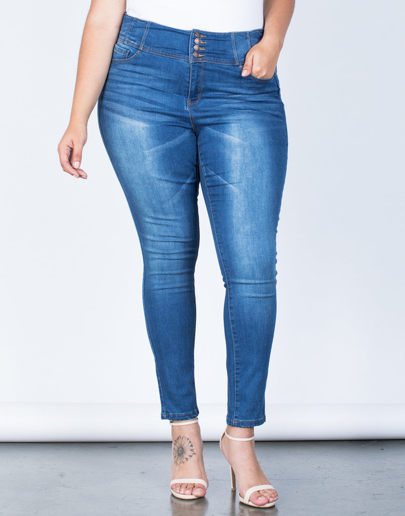 Front View of Plus Size Buttoned High Up Jeans