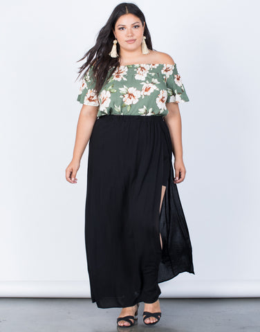 Black Plus Size Carefree Maxi Shorts - Front View