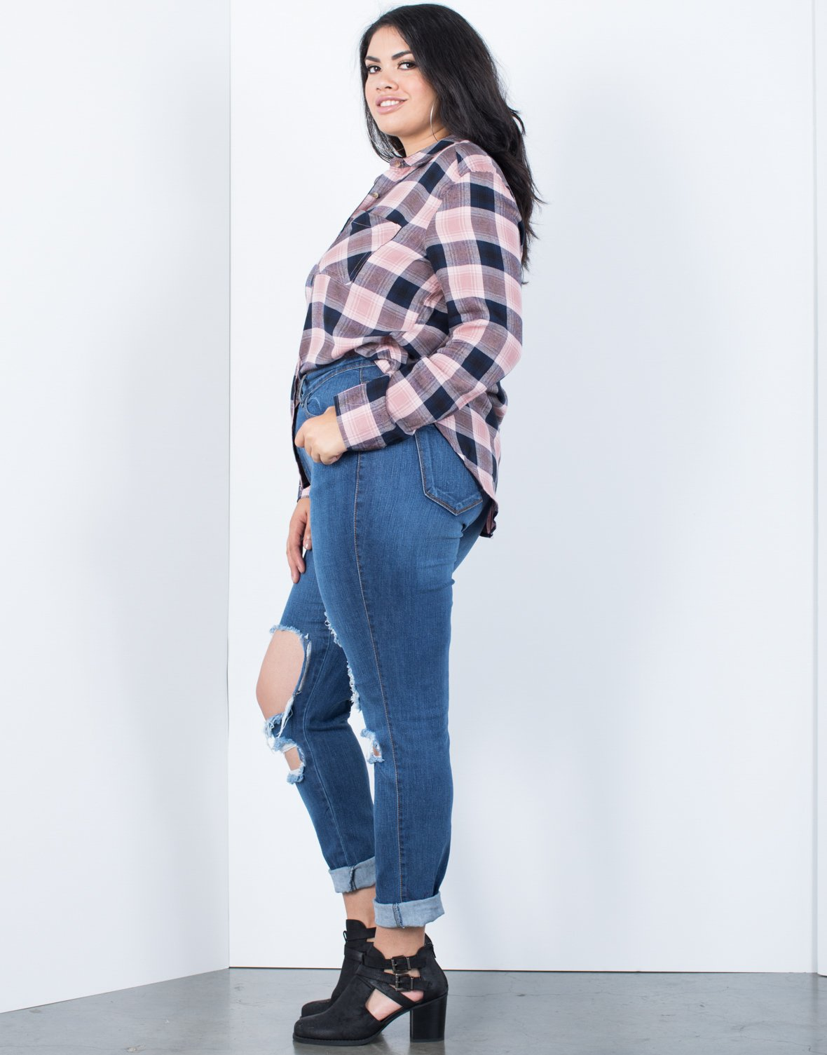 Plus Size Casual Time Plaid Top - 2020AVE