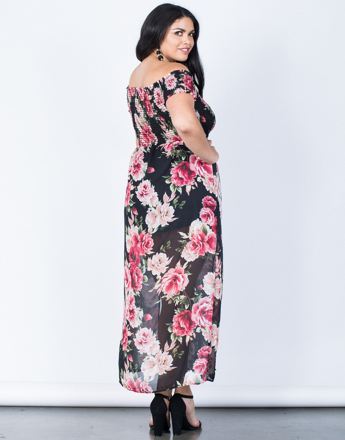 Back View of Plus Size Charming Floral Dress