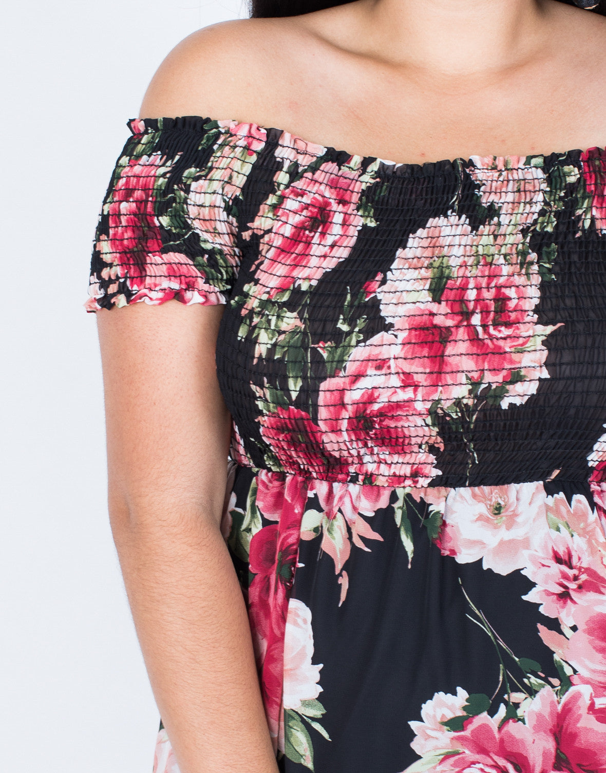 Detail of Plus Size Charming Floral Dress