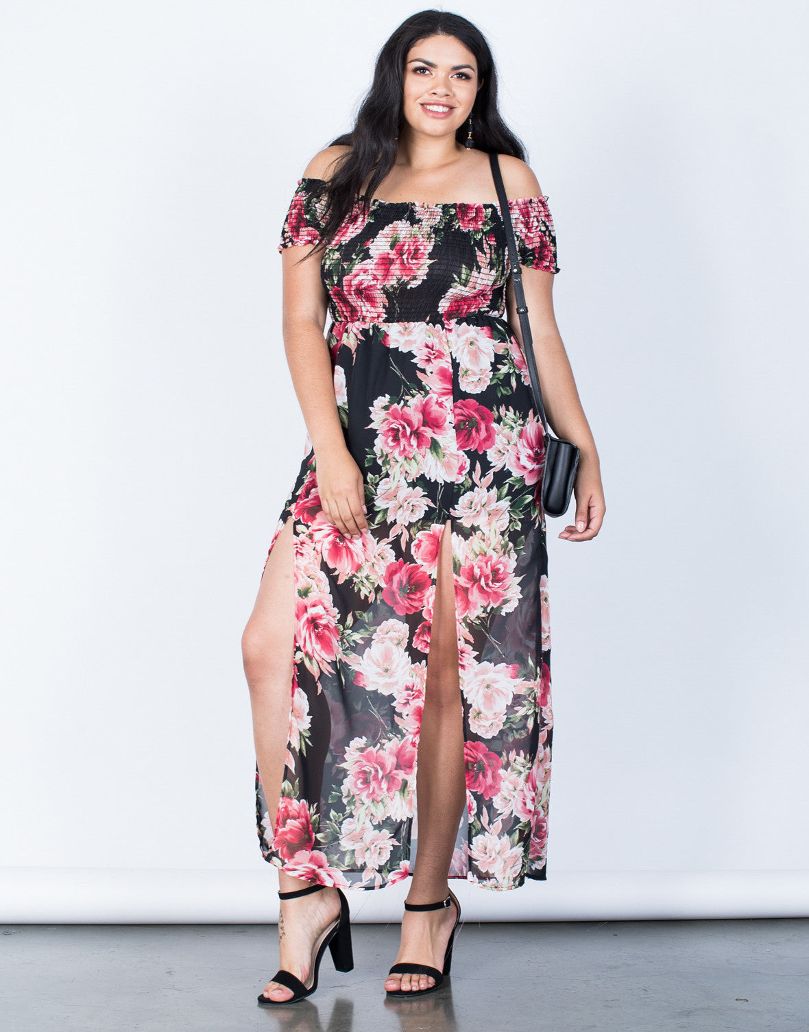 Front View of Plus Size Charming Floral Dress