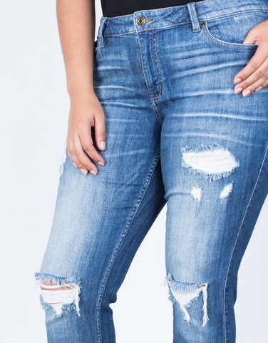 Detail of Plus Size Classic Torn Jeans