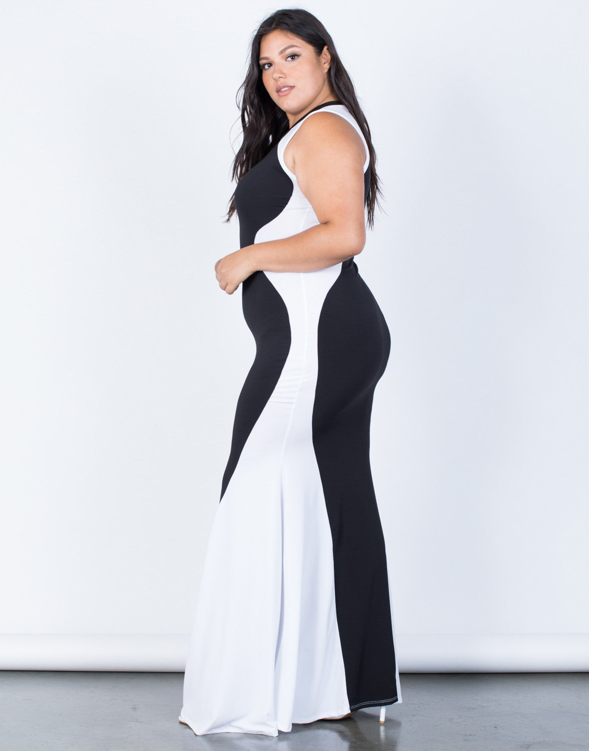 Plus Size Color Block Maxi Dress – 2020AVE
