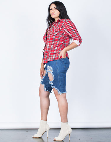 Side View of Plus Size Comfy Casual Plaid Blouse