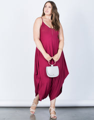 Plus Size Comfy Draped Jumpsuit