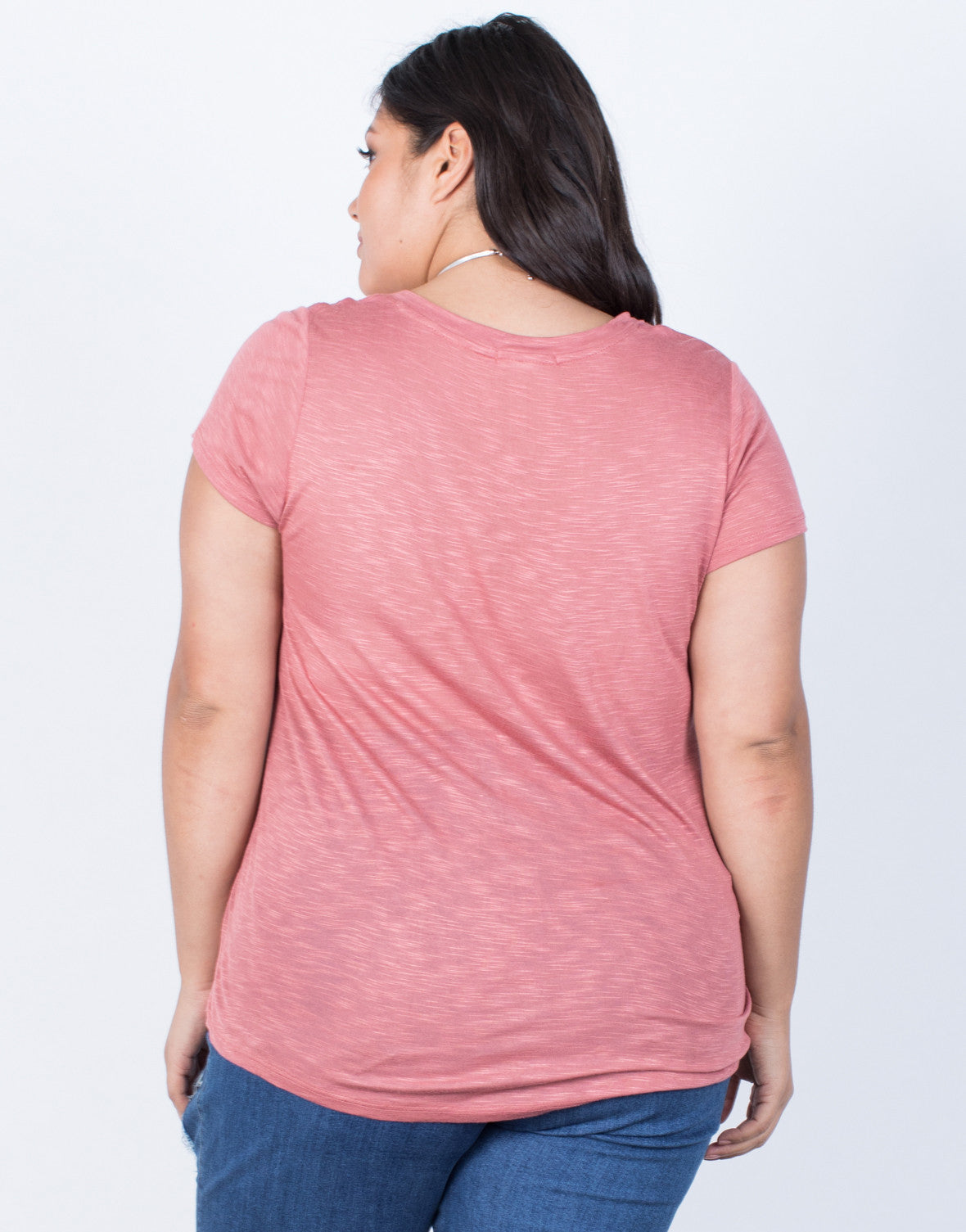 Marsala Plus Size Comfy Pocket Tee - Back View