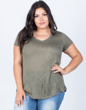 Olive Plus Size Comfy Pocket Tee - Front View