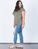 Olive Plus Size Comfy Pocket Tee - Side View