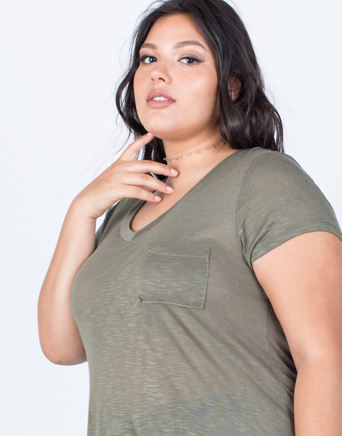 Olive Plus Size Comfy Pocket Tee - Detail
