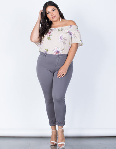 Gray Plus Size Comfy Skinny Pants - Front View