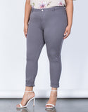 Gray Plus Size Comfy Skinny Pants - Front Detail