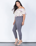 Gray Plus Size Comfy Skinny Pants - Side View