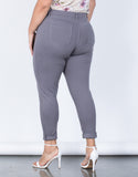 Gray Plus Size Comfy Skinny Pants - Back View