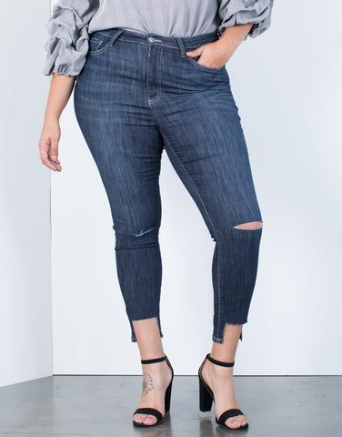 Plus Size Crop Step Hem Jeans - 2020AVE
