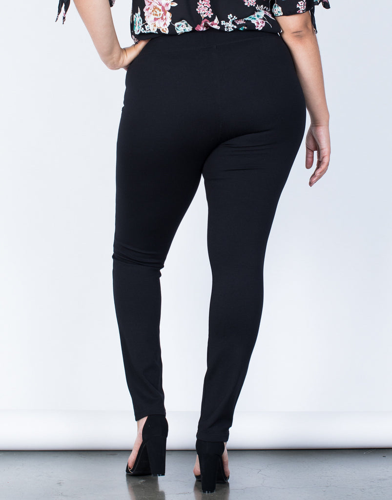 Back View of Plus Size Crossing Paths Banded Pants