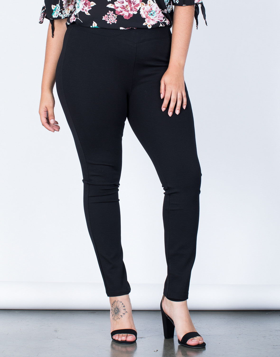Front View of Plus Size Crossing Paths Banded Pants