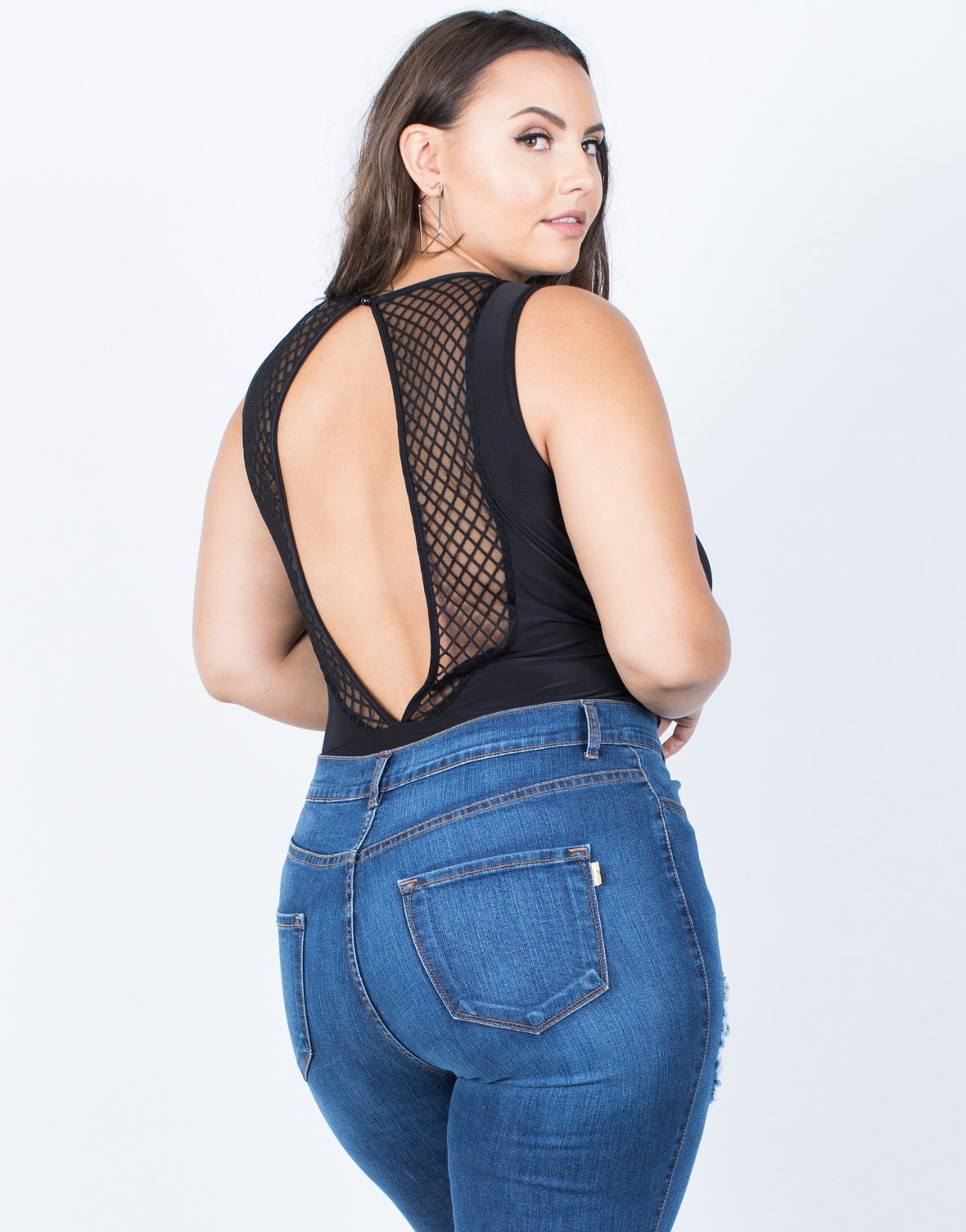 Plus Size Diamond Netted Bodysuit - 2020AVE