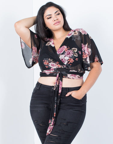Plus Size Dreamy Floral Crop Top - 2020AVE