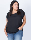 Black Plus Size Effortless Chiffon Blouse - Front View