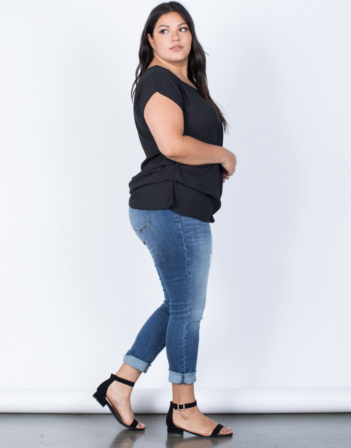 Black Plus Size Effortless Chiffon Blouse - Side View