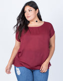 Burgundy Plus Size Effortless Chiffon Blouse - Front View