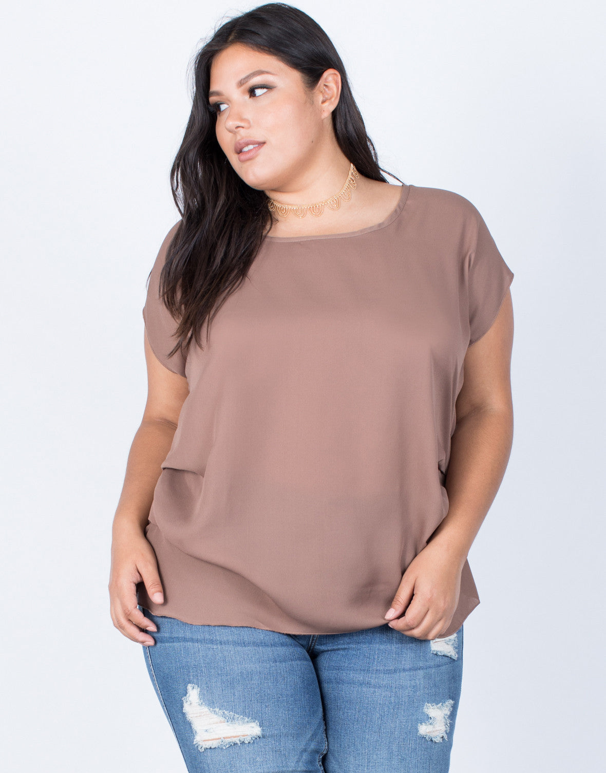 Mocha Plus Size Effortless Chiffon Blouse - Front View
