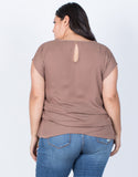 Mocha Plus Size Effortless Chiffon Blouse - Back View