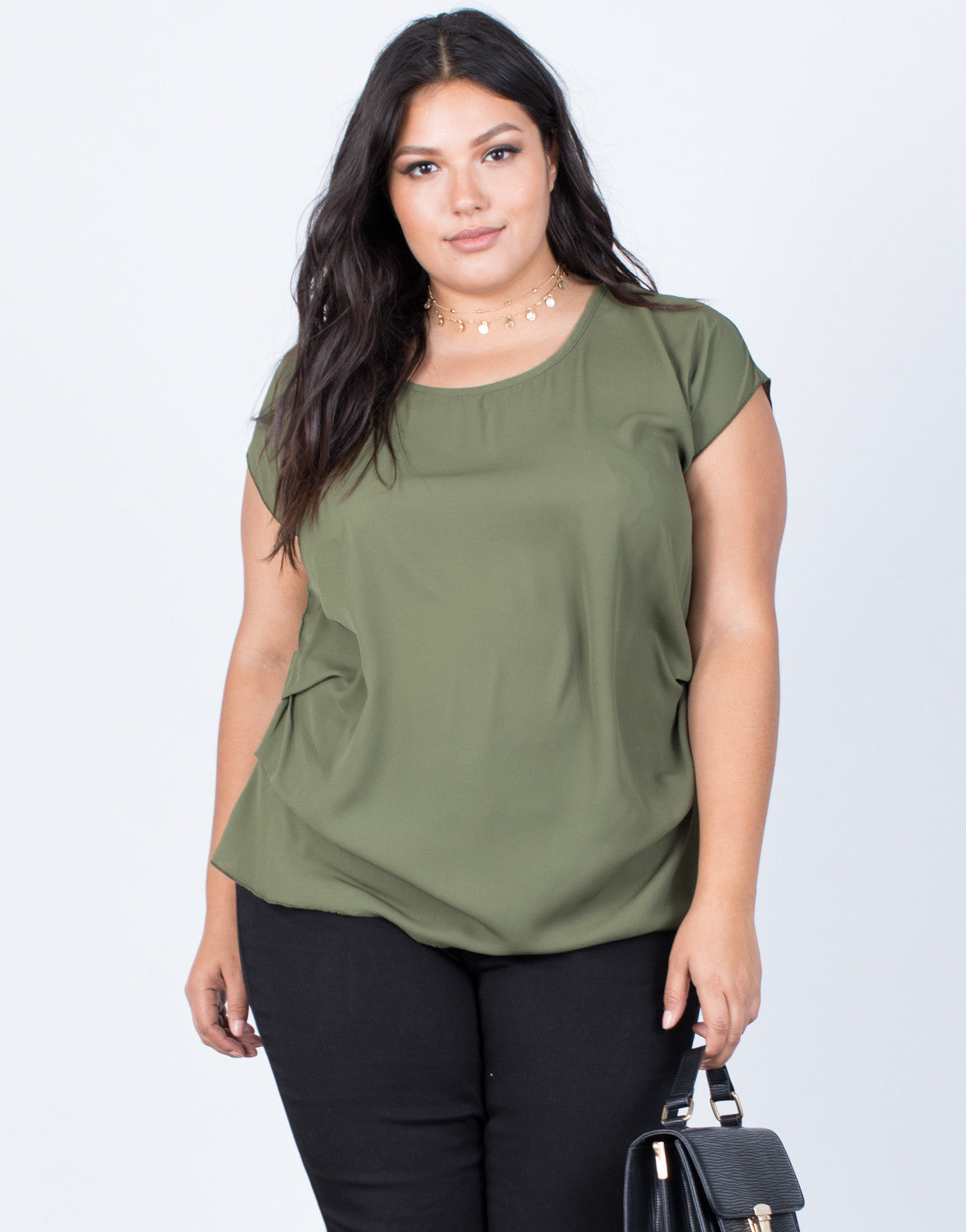 Olive Plus Size Effortless Chiffon Blouse - Front View