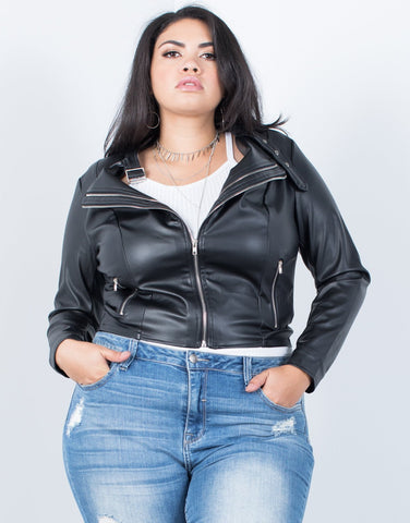 Plus Size Effortless Leather Jacket - 2020AVE
