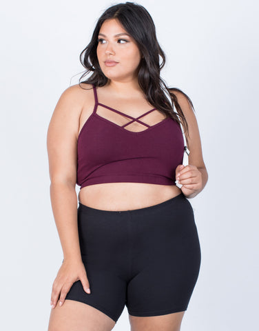 Merlot Plus Size Essential Strappy Bralette - Front View