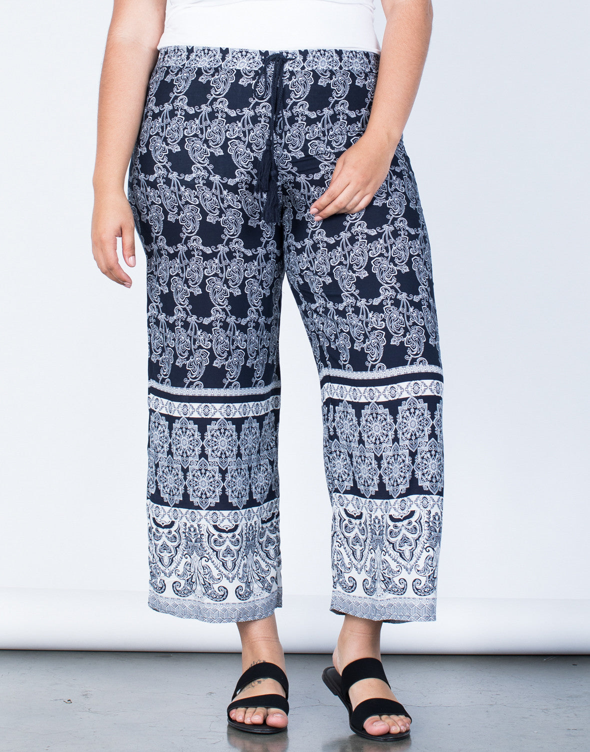 Front View of Plus Size Feelin' Bohemian Pants
