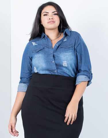 Plus Size Feelin' Torn Shirt - 2020AVE