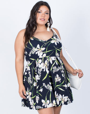 Black Plus Size Field of Lilies Dress - Front View