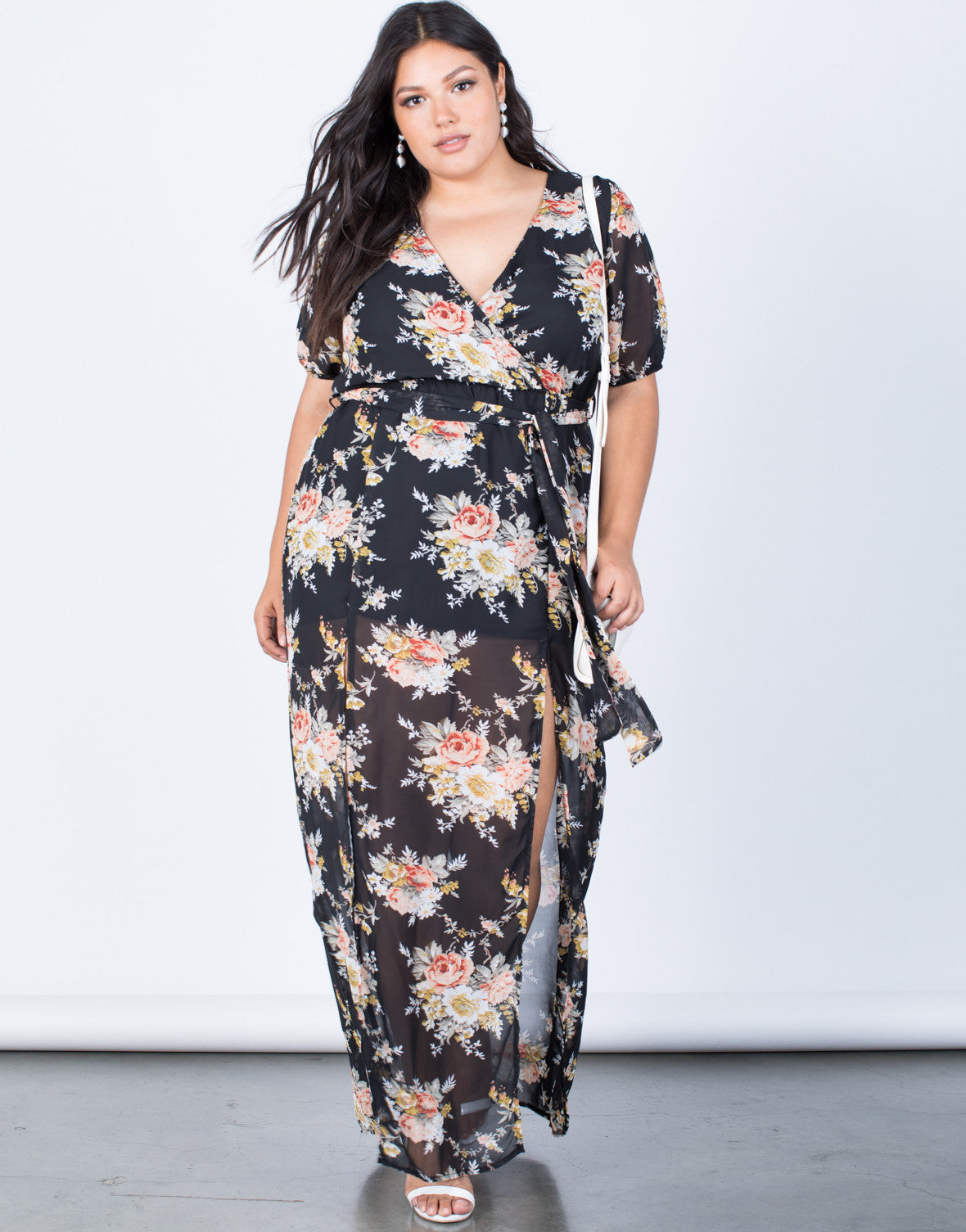 Black Plus Size Floral Paradise Dress - Front View