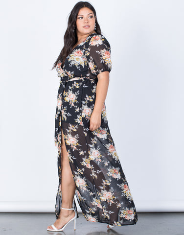 Black Plus Size Floral Paradise Dress - Side View