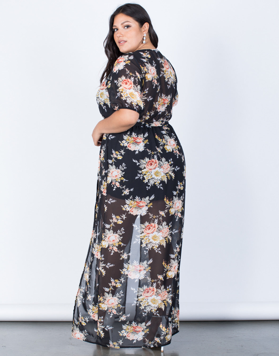 Black Plus Size Floral Paradise Dress - Back View